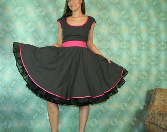 50's vintage dress full skirt black with white baby polka dots  Pinup retro Tailor Made