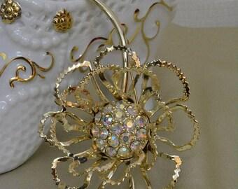 SPRING SALE SARAH Coventry Brooch, Pin, Allusion, Flowers, Aurora Borealis Rhinestones, Vintage, Gold Tones
