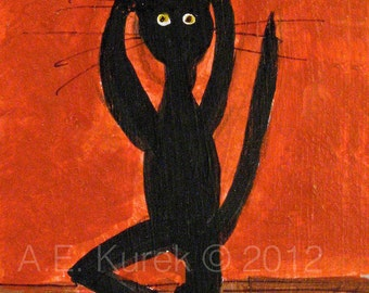 Black Cat Art Print - Black Cat Doing Yoga in Red Room - Yoga Decor -  5x7 Yoga Print- Cat Lover Gift - Yoga Gift