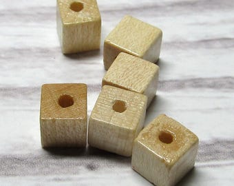Wooden Beads 6 X 6mm Natural Smooth Cubes -  100 pieces