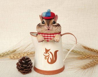Chipmunk in a tin can, Squirrel with a lovely hat