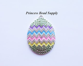 Colorful Easter Egg Rhinestone Pendant for Chunky Necklaces,  42mm x 34mm Spring Pendant, Chunky Necklace Pendant, Easter Egg Cabochon
