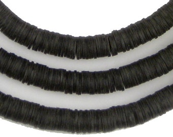 1000 Black Phono Record Vinyl Beads - 6mm - Black African Beads - Made in Ghana ** (PHON-DISK-BLK-203)