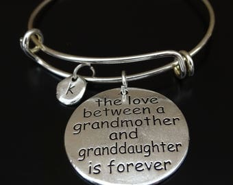 The love between a grandmother and granddaughter is forever Bracelet, Grandmother Bangle, Grandmother Bracelet, Granddaughter Grandmother