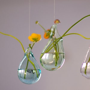 Hand Blown Glass Vases Set Of 3 / Hanging Vase / Choose Your Color / Flower