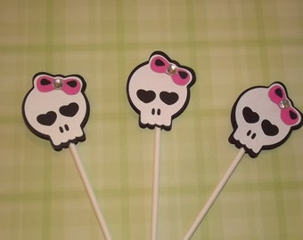 Monster High Inspired Skull Cupcake Toppers