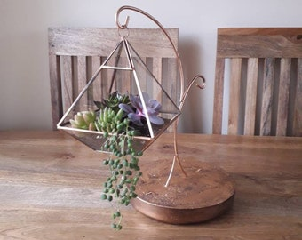 Aged Hanging Copper Geometric Terrarium With Hanging Metal and Concrete Stand.