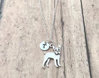 Boston terrier initial necklace - Boston terrier jewelry, dog jewelry, Boston terrier pendant, dog breed necklace, silver Boston terrier