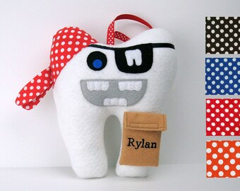 Tooth Fairy Pillow - Pirate can be Personalized - Pirate Tooth Pillow - Tooth Shaped Pirate
