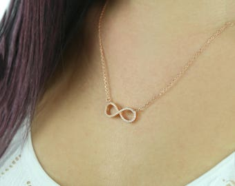 1/2 ctw Infinity Necklace, Infinity Pendant, Man Made Diamond Simulants, Layering Necklace , Sterling Silver, Rose Gold Plated
