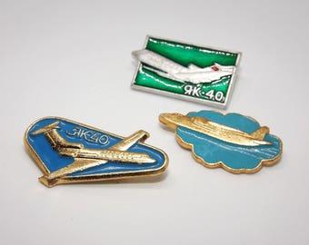 Vintage enamel ship pins - Soviet vintage enamel pin set - Collectible aviation pins - Airplane pin set - Aircraft enamel pin set