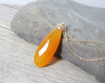 Gemstone solitaire pendant, orange chalcedony gold necklace, elongated, layering pendant