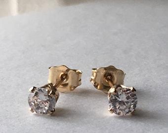 Diamond White Cubic Zirconia 14k Gold Filled Stud Earrings. 4 mm CZ Stud Earrings. Gift For Her. Wedding Earrings. Modern Gold Earrings