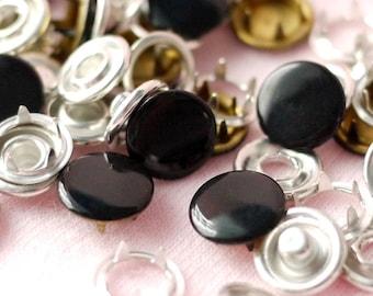 50 sets, Black (XM63) Capped Prong Snap Button, Size 16L (10 mm)
