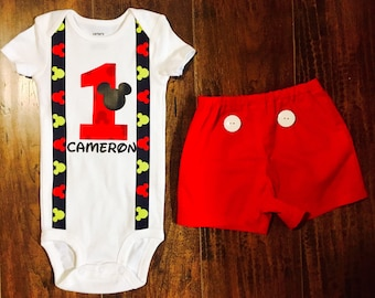 Mickey Mouse Onesie, Mickey Mouse Birthday Shirt, First Birthday Onesie and Shorts, Mickey Mouse Cake Smash Outfit, Custom Mickey Mouse Birt