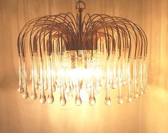Sciolari chandelier 140 tears drop murano glass pendant Hollywood Regency Made in Italy 1970s