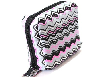 Essential Oil Roller Bottle Case Black Gray and Pink Chevron