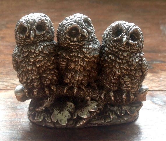 Rare Country Artists Sterling Silver Owl Family Figurine.