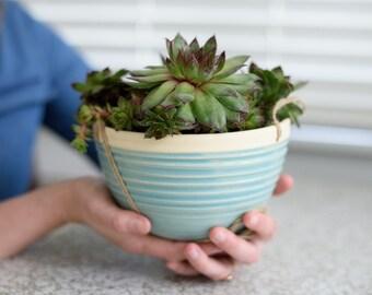 LARGE HANGING PLANTER // ceramic hanging planter - modern planter - planter - indoor garden - succulent - turquoise blue-  blue - home decor