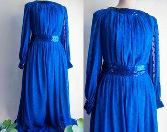 Large size Evening Maxi Dress - 80s Vintage Cobalt Blue Long dress.