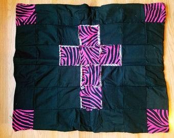 Zebra carseat blanket, animal print blanket, pink blanket, home sewn baby blanket, homesewn items