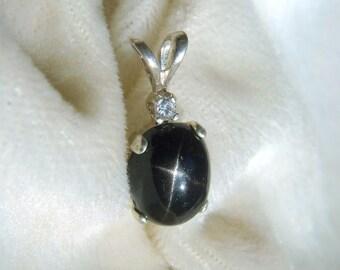 Crisp Black Star Diopside Pendant