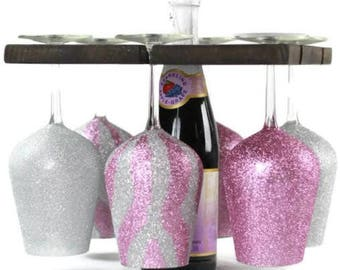 Custom Wine Glasses with Portable Wine Rack
