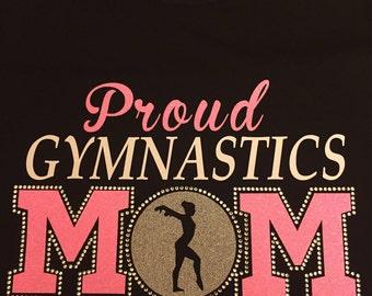 Rhinestone and Vinyl Gymnastics Mom T-Shirt