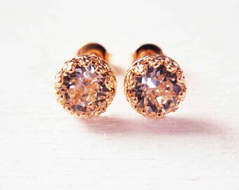 Bridal Earrings in silver 925 pink gold and Swarovski crystal pink silk chic romantic style