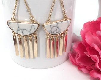 turquoise earrings - white turquoise drop earrings - bohemian jewelry - dangle earrings - gifts for her - women's gift - boho jewelry gift