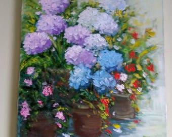 """M. Borella, """"Vasi con Ortensie"""", 1995. Made in Italy. Original Oil on Canvas"""