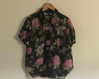 Vintage 80s Pink Rose Print Sheer Short Sleeve Shirt with Bead Accents