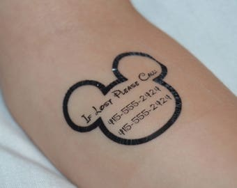 28 Personalized Mickey Outline Safety/Emergency Contact Temporary Tattoos