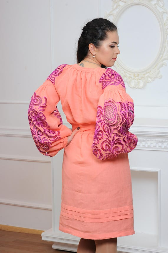 Folk Ukrainian Peach Embroidery 4XL Ukrainian FREE embroidered XS Thobe Dress Richelieu Sarafan with Arabian SHIPPING Linen Boho Aqq4PwE