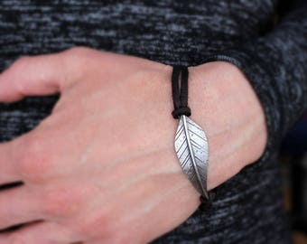 Ready to Ship, STRENGTH sterling silver woodland leaf & black leather inspiring message bracelet