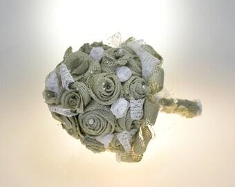 Rustic Wedding Bouquet, Burlap Flower Bouquet Lace and Pearls, Bridal Bouquet, Wedding Decoration