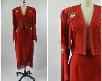 1980s RED Suede Western Jacket Cropped  and Skirt with Long Fringe and Silver Conchos Continental Leather Fashions Size Medium Rodeo Outfit