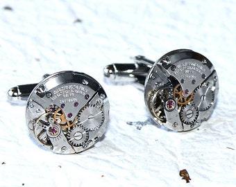 TISSOT Steampunk Men Cufflinks - Luxury Swiss Silver Vintage Watch Movement Men Steampunk Cufflinks / Cuff links Men Wedding Gift