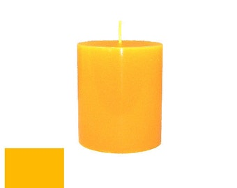 3 x 3.5 Amber Classic Hand-poured Unscented Pillar Candles Solid Color