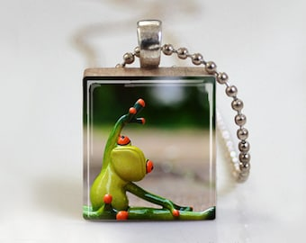 Yoga Frog Excerice Gymnastic - Scrabble Tile Pendant - Free Ball Chain Necklace or Key Ring