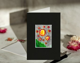 Inspirational Circles, ACEO art card, aceo original, tiny paintings, tiny watercolor, painted greeting cards, art cards to frame, abstract