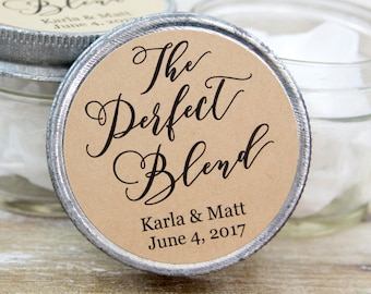 The Perfect Blend LABELS - Wedding Favor Labels - Wedding Favor Stickers - Coffee Favors - Tea Favors - Wedding Stickers - Personalized