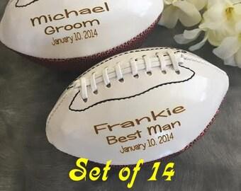 Set of 14 Personalized  Football, Ring Bearer Gift, Groomsmen Gift, Best Man Gift, Wedding Gift,