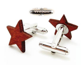 Engraved cufflinks, personalized initials cufflinks, five-pointed star cuff links,Wood cufflinks
