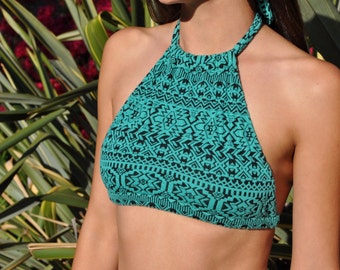 Teal Tribal Halter Crop