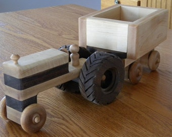 Wooden Toy Tractor and Wagon - Keepsake Farm Toy