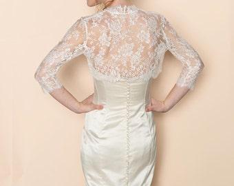 Celine Bridal French Lace Bolero cover up shrug In Ivory