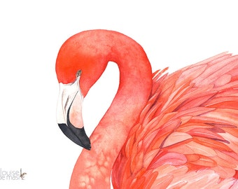 Flamingo watercolor painting print, F10416, 5 by 7 size, Flamingo painting, hand painted flamingo, flamingo print, tropical bird print