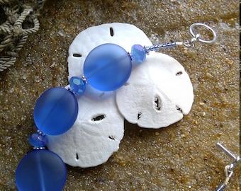 Sz 7.25 Sea Glass and Crystal Bracelet beach glass blue bracelet glass sea glass bracelet size 7.25 inches E1716