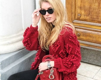 Chunky knit cardigan oversized red cardigan long wool cardigan plus size cardigan boho sweater cable knit cardigan spring cardigan